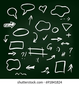 Set of hand-drawn arrows on green chalkboard background. Infographic elements. Vector illustration