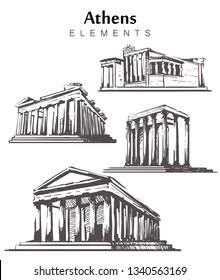 Set of hand-drawn Athens elements. Athens buildings sketch vector illustration. Temple Of Hephaestus, Olympian Zeus, Parthenon, Erechtheion.