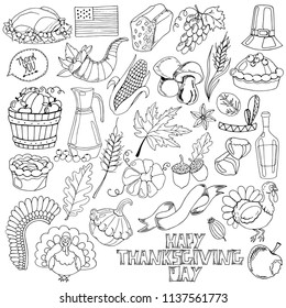 Set of hand-drawn autumn elements, harvest, Thanksgiving Day clipart, vector illustration