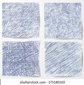 Set of hand-drawn backgrounds. Vector illustration