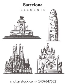 Set of hand-drawn Barcelona buildings, Barcelona elements sketch vector illustration. Citadel Park, Sagrada Familia, Agbar Tower, Temple of the Sacred Heart.