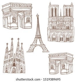 Set of hand-drawn Barcelona buildings.Sagrada Familia,Eiffel Tower,Triumphal Arch,Notre Dame Cathedral.