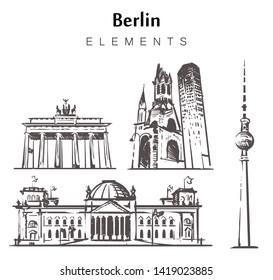 Set of hand-drawn Berlin buildings  elements sketch vector illustration. Brandenburg gate,Kaiser Wilhelm Memorial Church,Berlin TV tower.