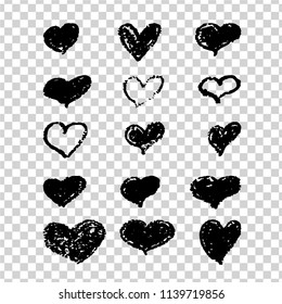A set of hand-drawn black hearts. Design elements with a grunge texture for gift cards, invitations and valentines. Vector heart painted with a pomade.