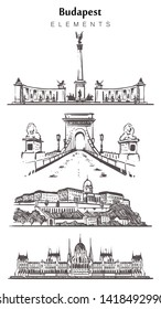Set of hand-drawn Budapest buildings, Budapest elements sketch vector illustration. The building of the Hungarian Parliament, Chain Bridge Széchenyi, Buda Castle, Heroes Square.