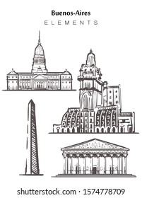 Set of hand-drawn Buenos Aires buildings, elements sketch vector illustration. The obelisk, the Cathedral, Palacio Barolo, Palace Of the national Congress of Argentina