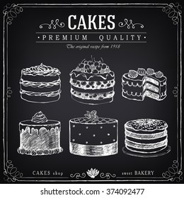 Set of hand-drawn cakes. Bakery sweet shop. Vector icons of cakes. Freehand drawing with imitation of chalk sketch
