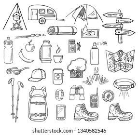 Set of hand-drawn camping icons isolated on white background. Doodle equipment, accessories, clothes, etc. for trekking and hiking. Black and white sketched vector illustration
