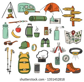 Set of hand-drawn camping icons isolated on white background. Doodle equipment, accessories, clothes, etc. for trekking and hiking. Color sketched vector illustration