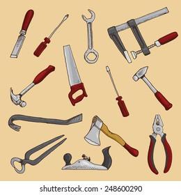 Set Of Hand Drawn Carpenter Tools