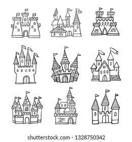 Set of hand-drawn cartoon castle icons. Doodle cartoon fairytale castle for princess, magic kingdom. Vector Illustration good for a logo, greeting card, banner, invitation or flyer.