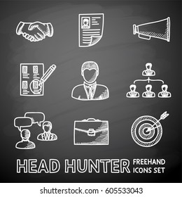 Set of handdrawn chalkboard Head Hunter icons with - handshake, resume, mouthpiece, choice, employee, hierarchy, interview, portfolio, target with arrow in center. Vector illustration