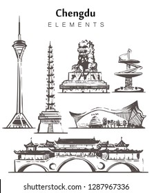 Set of hand-drawn Chengdu buildings.Chengdu buildings and temples elements  sketch vector illustration.Anshun Bridge Isolated on white background.