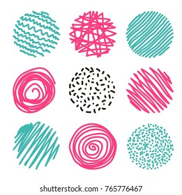 set of hand-drawn circles, elements for desicn, vector