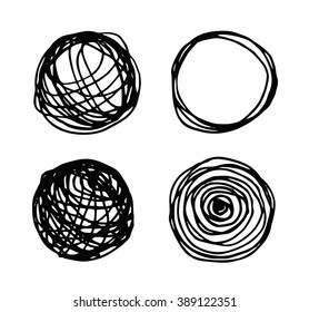 set of hand-drawn circles, elements for desicn.Vector Illustration