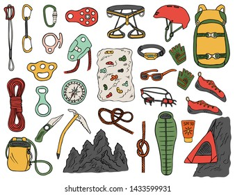 Set of hand-drawn climbing icons isolated on white background. Doodle color vector illustration of equipment, tools and accessories for alpinism and mountaineering