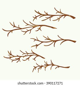 Set of hand-drawn and colored branches. Vector graphics.