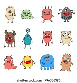 set of hand-drawn colored doodle monsters
