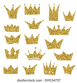 Set of hand-drawn crowns in doodle style. Cold glitter texture. Golden gloss effect. Sparkling diadems.