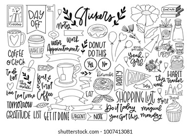 Set of hand-drawn cute modern stickers. Lovely simple illustrations. Fashion patch badges, pins, patches in cartoon 80s-90s comic style.