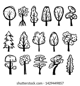 Set of hand-drawn different trees made in cartoony dodle style. Black cute illustrations isolated on white background.