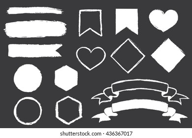Set of hand-drawn doodle banners on chalkboard . Vector illustration.