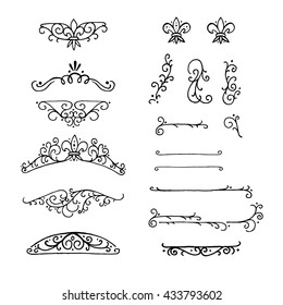 Set of Hand-Drawn Doodle Vintage Decorations Elements. Flourishes Calligraphic Ornaments and Frames. Retro Style Design Collection for Invitations, Banners, Posters, Placards, Badges and Logotypes.