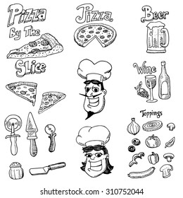 A set of hand-drawn doodles of pizza related items.