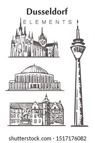 Set of hand-drawn Dusseldorf buildings, elements sketch vector illustration. town hall, Rheinturm Tower, Church of the Immaculate Conception of the virgin Mary, Tonhalle.