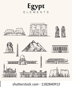 Set of hand-drawn Egypt  buildings sketch vector illustration.Mosque Of Muhammad Ali,Cairo tower,sphinx, pyramids of Giza and Cheops, temples of Amun Ra,Karnak ,Hathor,Hatshepsut,Colossi of Memnon.