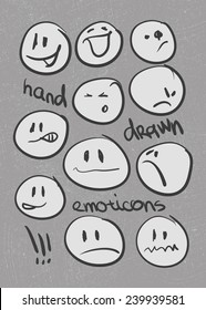 Set of  hand-drawn emoticons . Vector illustration