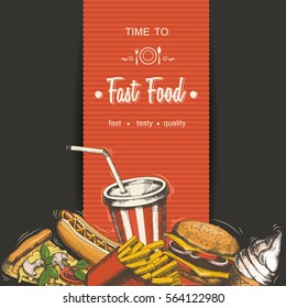 Set of hand-drawn fast food menu. Background with food for advertising or packaging. Sketch. Vector design