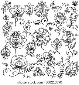Set of hand-drawn floral elements. A beautiful set of flowers to be used in wedding invitations, cards and other types of design.