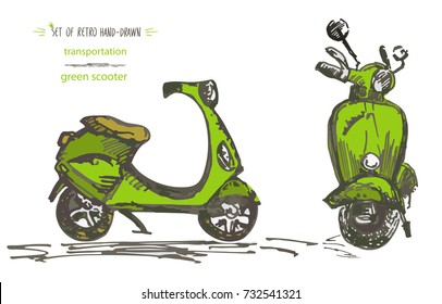 Set of hand-drawn green scooters. Ink brush sketch. Vector illustration