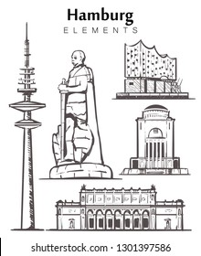 Set of hand-drawn Hamburg buildings elements sketch vector illustration. The Elbe Philharmonic hall,planetarium, monument to Otto von Bismarck, Kunsthalle, tv tower.
