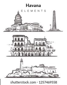 Set of hand-drawn Havana buildings.Havana elements sketch vector illustration. La Cabanya,Capitol,Jose Memorial Marty,  isolated on white background.