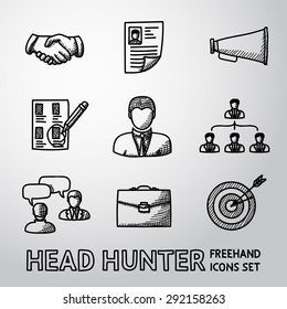 Set of handdrawn Head Hunter icons with - handshake, resume, mouthpiece, choice, employee, hierarchy, interview, portfolio, target with arrow in center. Vector
