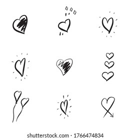 A set of hand-drawn hearts. Hand drawn Doodle heart marker isolated on white background. Vector illustration for your graphic design