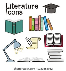 Set of hand-drawn icons on the theme of Literature. Pictograms of a table lamp, an open book, a stack of books, a scroll with a pen. Vector illustration on the theme of Library, books, reading