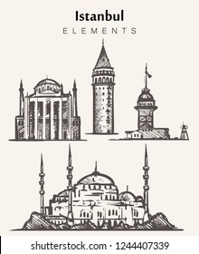 Set of hand-drawn Istanbul buildings.Istanbul elements sketch vector illustration. Maiden,Galata towers,blue mosque,