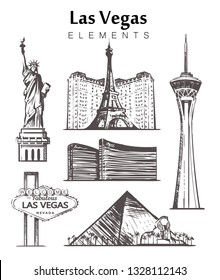 """Set of hand-drawn Las Vegas buildings elements sketch vector illustration. Road sign """"Welcome to"""", Stratosphere tower, Luxor Pyramid, """"Statue of Liberty"""", Hotels, """"Paris""""."""