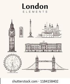 Set of hand-drawn London buildings.London sketch vector illustration.Big Ben,tower bridge,Buckingham palace,Trafalgar square,Ferris wheel.