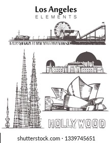 Set of hand-drawn Los Angeles buildings elements sketch vector illustration. Hollywood sign, Santa Monica Park, Concert hall, Griffith Observatory, Watts towers.