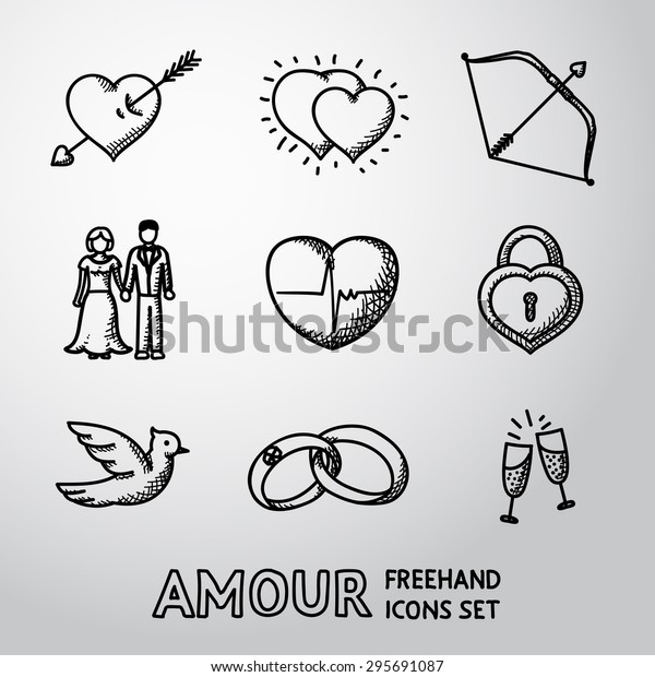Set Handdrawn Love Amour Icons Heart Stock Vector Royalty Free 295691087