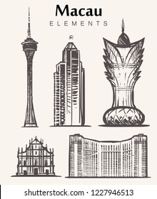 Set of hand-drawn Macau buildings.Macau elements sketch vector illustration.Grand Lisboa,Macau tower,Historic Centre.