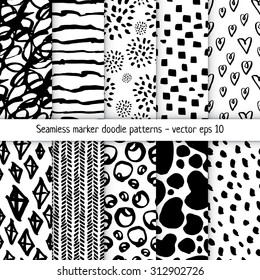 Set of hand-drawn marker doodle patterns. Vector sketch black and white background collection.