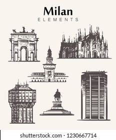 Set of hand-drawn Milan buildings.Milan elements sketch vector illustration.Velasca Tower,Milan cathedral,Sforza Castle,Pirelli Skyscraper.