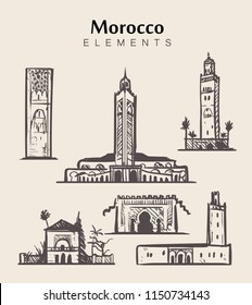 Set of hand-drawn Morocco buildings.Morocco sketch vector illustration.Hassan II Mosque,Marrakech.