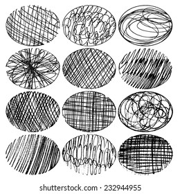 set of hand-drawn ovals, elements for design, vector