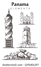 Set of hand-drawn Panama buildings  elements sketch vector illustration. Panama Viejo, the biological Museum, Tower Revolution.